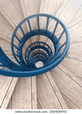 Spiral wood stairs with blue painted balustrade - stock photo
