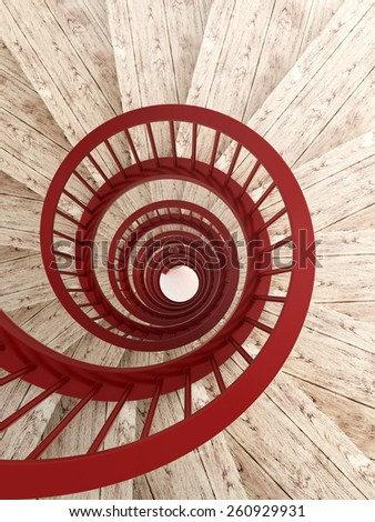 Spiral wood stairs with red painted balustrade, vertical - stock photo