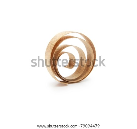 Spiral wooden shavings isolated on white.