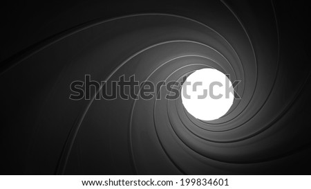 Spiraled interior of a gun barrel rendered in 3D - stock photo