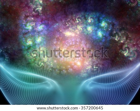 Spirals Dreams series. Interplay of spiral fractal and human head on the subject of science, human mind and consciousness - stock photo