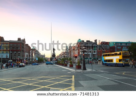 Spire of Dublin (Monument of Light) is a large, stainless steel, pin-like monument 121,2 metres in Dublin, Ireland - stock photo