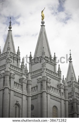 Spires atop a Mormon Temple (the Church of Jesus Christ of Latter-day Saints) - stock photo