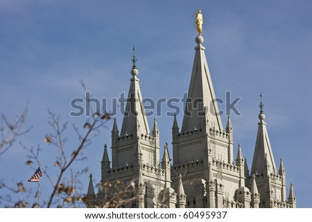 Spires atop a temple of The Church of Jesus Christ of Latter-Day Saints in Salt Lake City, Utah - stock photo