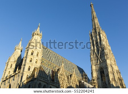 Spires of St. Stephen's Cathedral in a sunset light (Vienna, Austria).