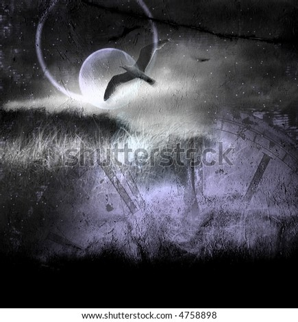 Spirit, bird in flight, night, ancient clock - stock photo