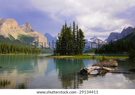Spirit island at Maligne Lake, Jasper National Park, Canada - stock photo
