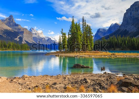 Spirit Island in Maligne Lake in Jasper national park, Alberta, Canada - stock photo