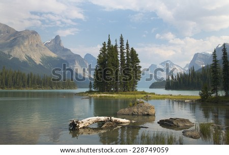 Spirit island in Maligne Lake. Jasper. Canada landscape - stock photo