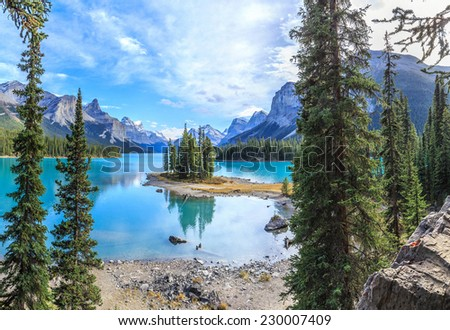 Spirit Island in Maligne Lake, Jasper National Park, Alberta, Canada - stock photo