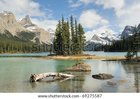 Spirit Island - Jasper National Park - Canada - stock photo