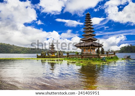 spiritual Bali. Ulun Danu temple in  Bratan lake - stock photo