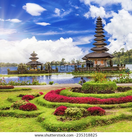 spiritual Bali. Ulun Danu temple in lake - stock photo