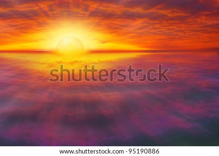 Spiritual, beautiful scene of sun rising / setting over the horizon with view point from the air, between layers of clouds - stock photo