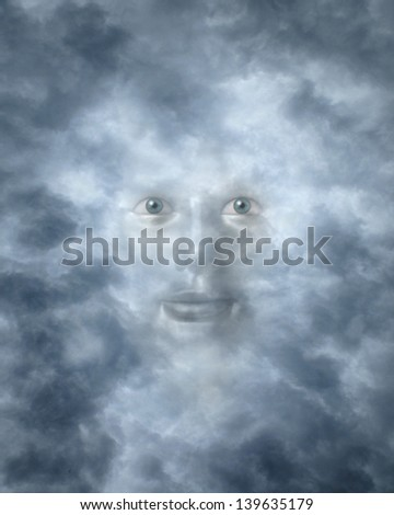 Spiritual faces peering through clouds possibly a god or deity - stock photo