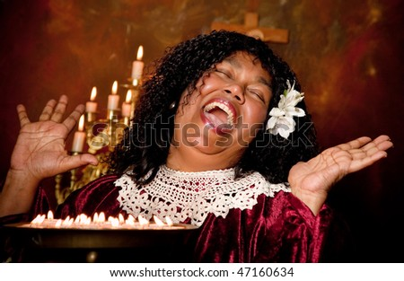 spiritual gospel singer singing a hymn - stock photo