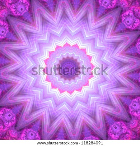 Spiritual mandala wheel or chakra symbol, digital fractal artwork