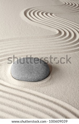 spiritual meditation background Japanese zen garden pebble and sand concept for purity wellness therapy and spa treatment - stock photo