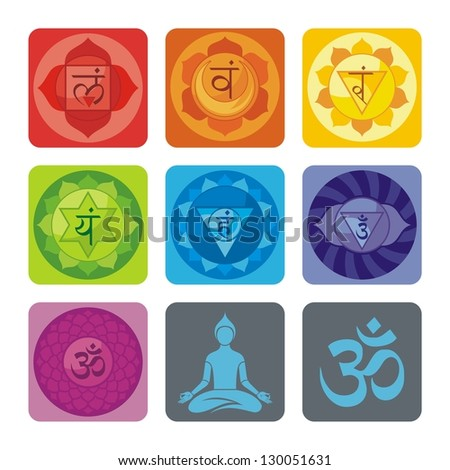 Spiritual set with chakras and yoga icons - stock photo