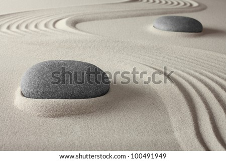 spiritual spa background zen garden with sand and rock concept for harmony relaxation and meditation tao buddhism conceptual for wellness treatment - stock photo