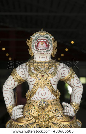 Spiritual statue in the city of Bangkok in Thailand in Southeastasia.