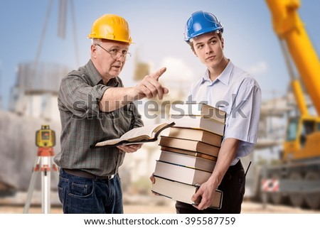 """Spiritual teacher giving instructions to a student""""According to the grace of God which is given unto me, as a wise master builder, I have laid the foundation, and another build thereon."""" 1 Cor. 3:10 - stock photo"""
