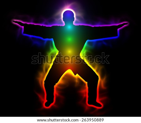 Spirituality and serenity - rainbow master samurai with aura and chakras - silhouette - stock photo