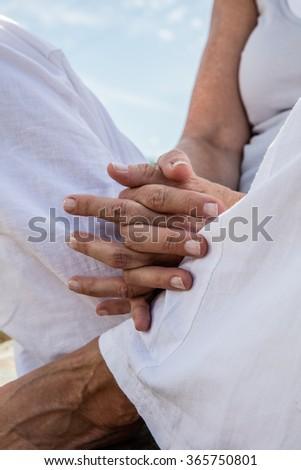 spirituality outdoors closeup praying hands yoga stock