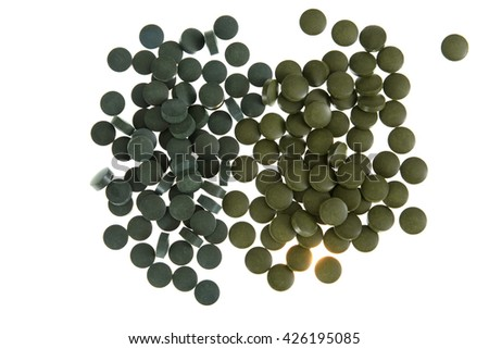 spirulin and chlorella food supplements tablets