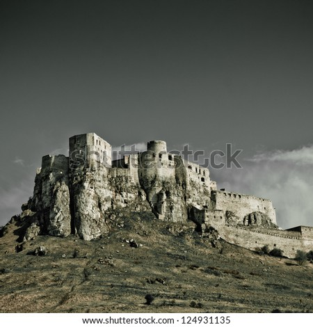 Spissky Castle, Slovakia with blie sky - stock photo