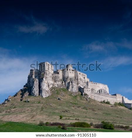 Spissky Castle, Slovakia with blie sky - stock photo