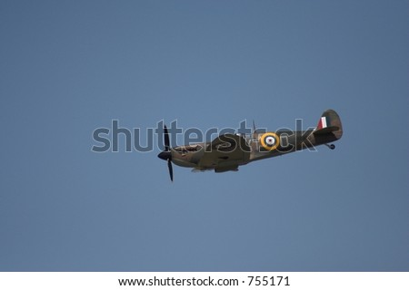 Spitfire in flight at an airshow