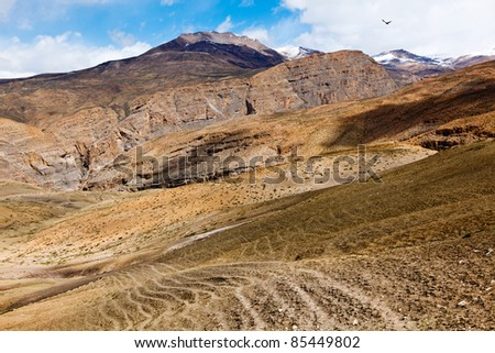 Spiti Valley -  snowcapped Himalayan Mountains. Himachal Pradesh, India