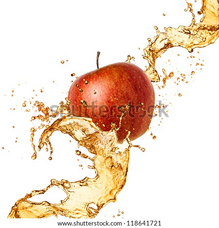 Splash juice with apple isolated on white - stock photo