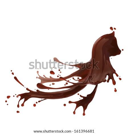splash of brownish hot coffee or chocolate isolated on white background - stock photo