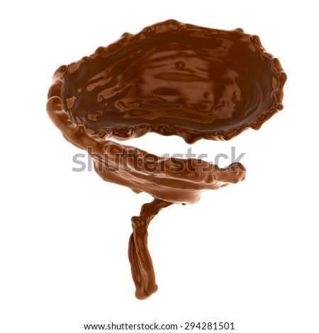 splash of brownish hot coffee or chocolate isolated on white background