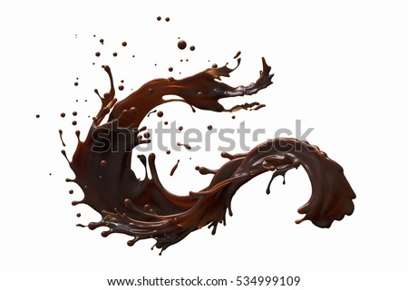splash of brownish hot coffee or chocolate isolated on white background.