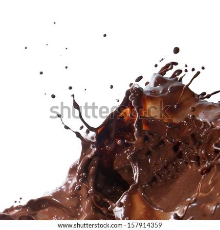 splash of chocolate isolated on white background - stock photo