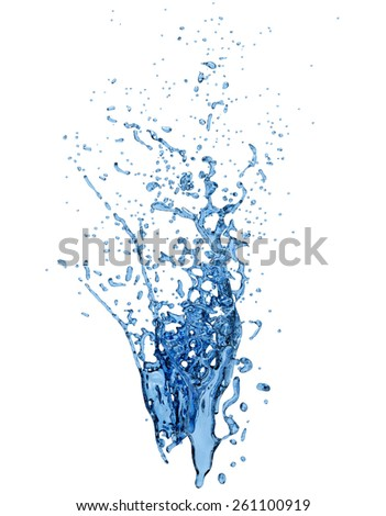 Splash of clear blue water, isolated with a clipping path - stock photo