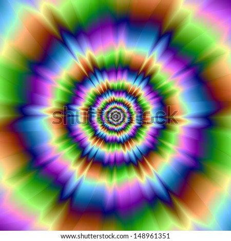 Splash of Color / Digital abstract fractal image with a psychedelic splash rippling design in blue, pink, green and brown. - stock photo