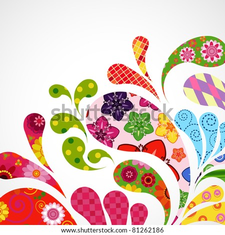 Splash of floral and ornamental drops background. - stock photo