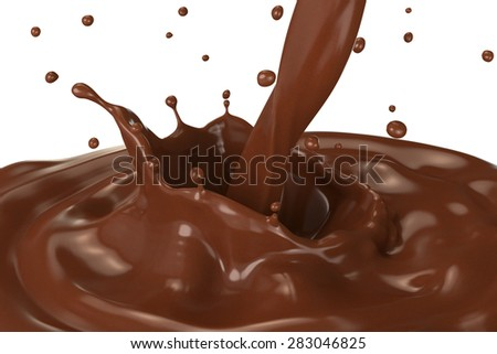 Splash of hot chocolate with pouring, isolated on white background.