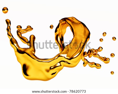 Splash of liquid molten gold with drops isolated over white - stock photo