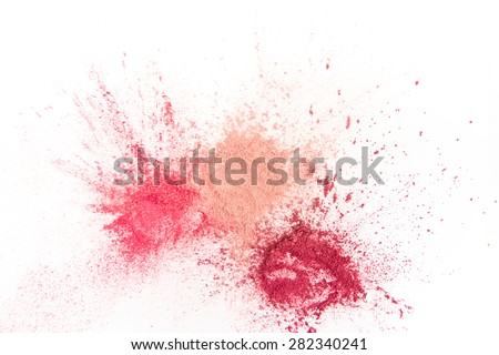 Splash of Natural Make up Tints  on White Background - stock photo