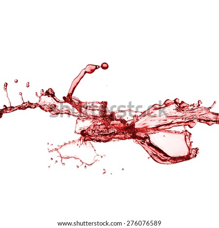 splash of red juice isolated on white background