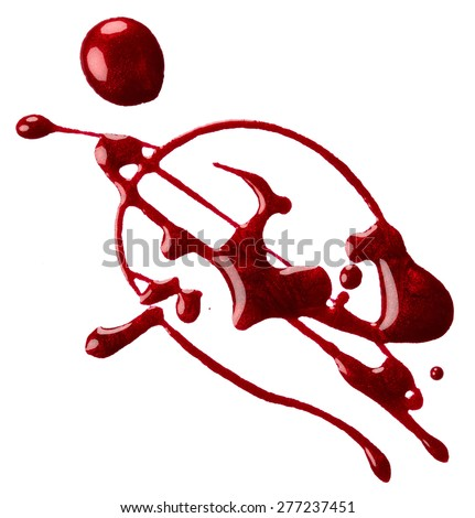 Splash of red nail polish isolated on white background