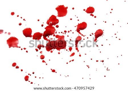 Splash of red paint on white background