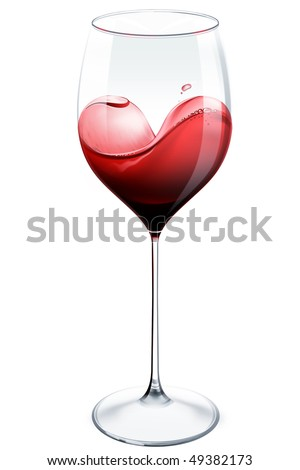 Splash of red wine in the glass forming the heart shape in white background