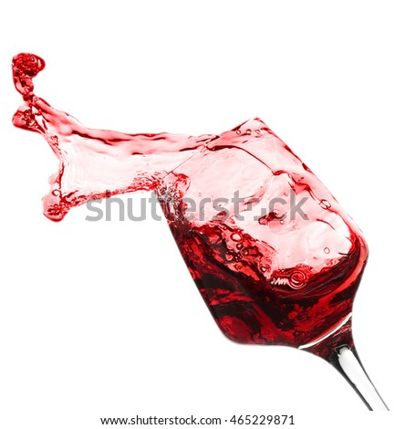 Splash of red wine, isolated on white