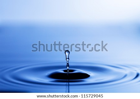 Splash of water crown on blue surface